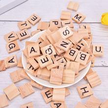100Pcs alfabeto in legno Scrabble piastrelle lettere e numeri neri per artigianato Puzzle digitale in legno giocattoli educativi vendita calda