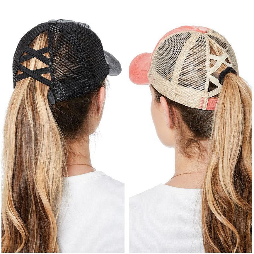 Women Ponytail Baseball Cap Snapback Adjustable Ponytail Gorras Casquette Summer Sunhat Mesh Trucker Hat Casquette Femm WH077