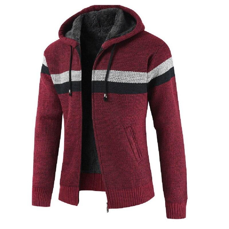 2020 Autumn Men Hooded Wool Cardigan Sweater Jumper Men Winter Fashion Striped Pockets Knit Outwear Coat Sweater Men