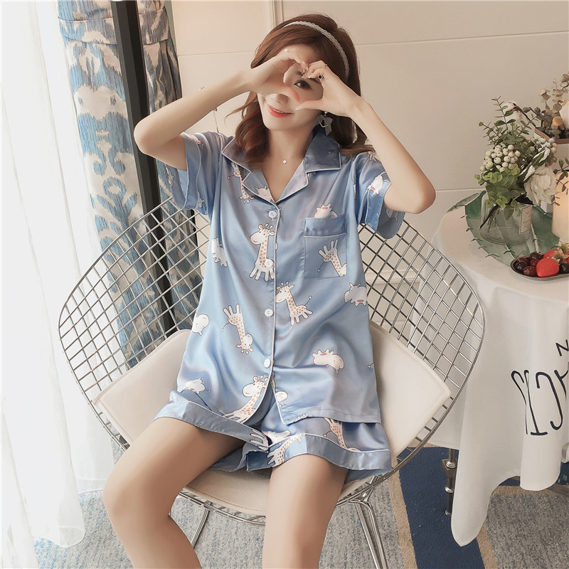According To Feminine Summer WOMEN'S Pajamas Spring And Autumn Days Imitated Silk Fabric Cute Cartoon Short Sleeve Shorts Cardig