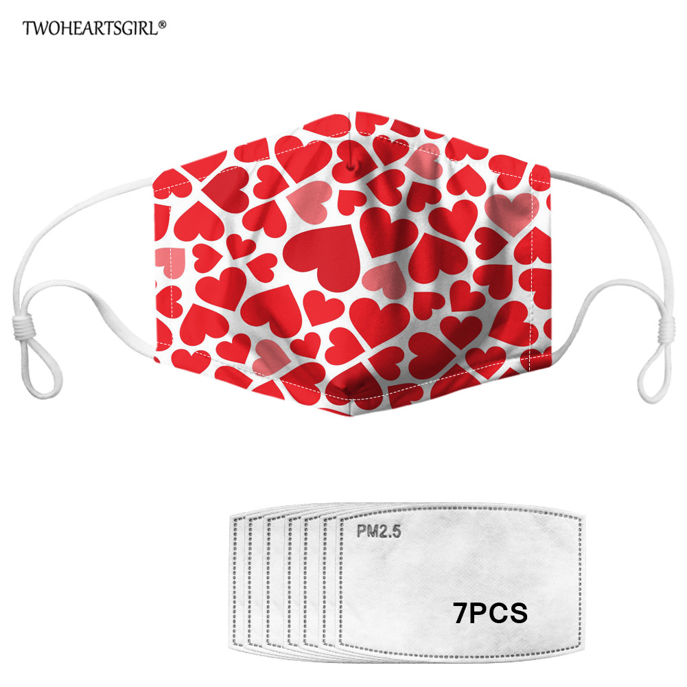 Twoheartsgirl Printing Love Heart Women Anti-dust Mouth Mask Outdoor Reusable Face Mask For Girls Non-disposable Masks