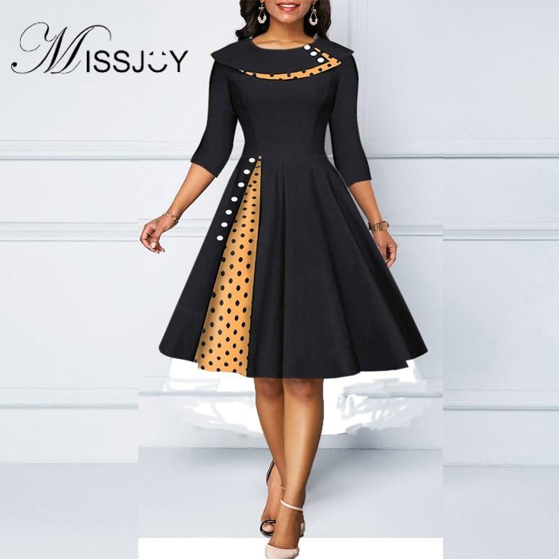 MISSJOY Women's temperament lapel polka dot stitching sleeves retro hip wrapped