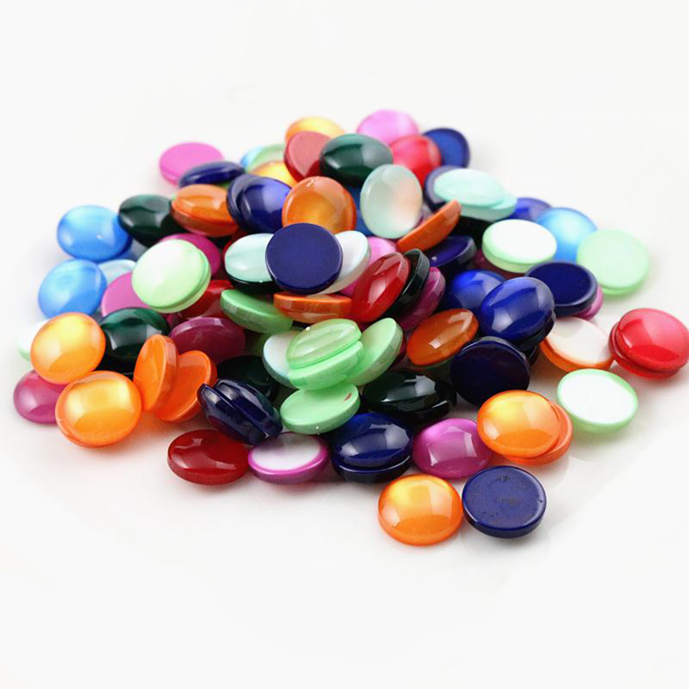 New Fashion 40pcs 12mm Mix Colors Cat's Eye Series Flat Back Resin Cabochons Jewelry Accessories Wholesale Supplies