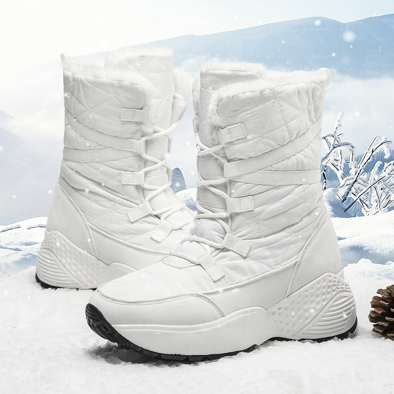 2020 New Women Boots Winter White Snow Boot Short Style Water-resistance Upper Non-slip Quality Plush Black Botas Mujer Invierno