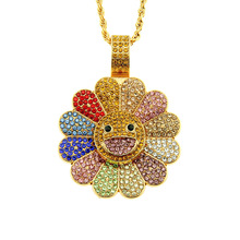 Rotating Colorful Inlaid Crystal Sunflower Necklace Mens and Womens Cool Pendant Jewelry Gift