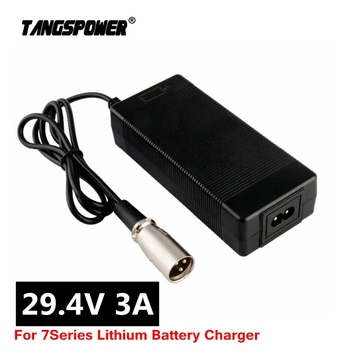цена на 29.4v3a lithium battery charger 7 Series 29.4V 3A charger for 24V battery pack electric bike lithium battery charger 3-Pin XLR