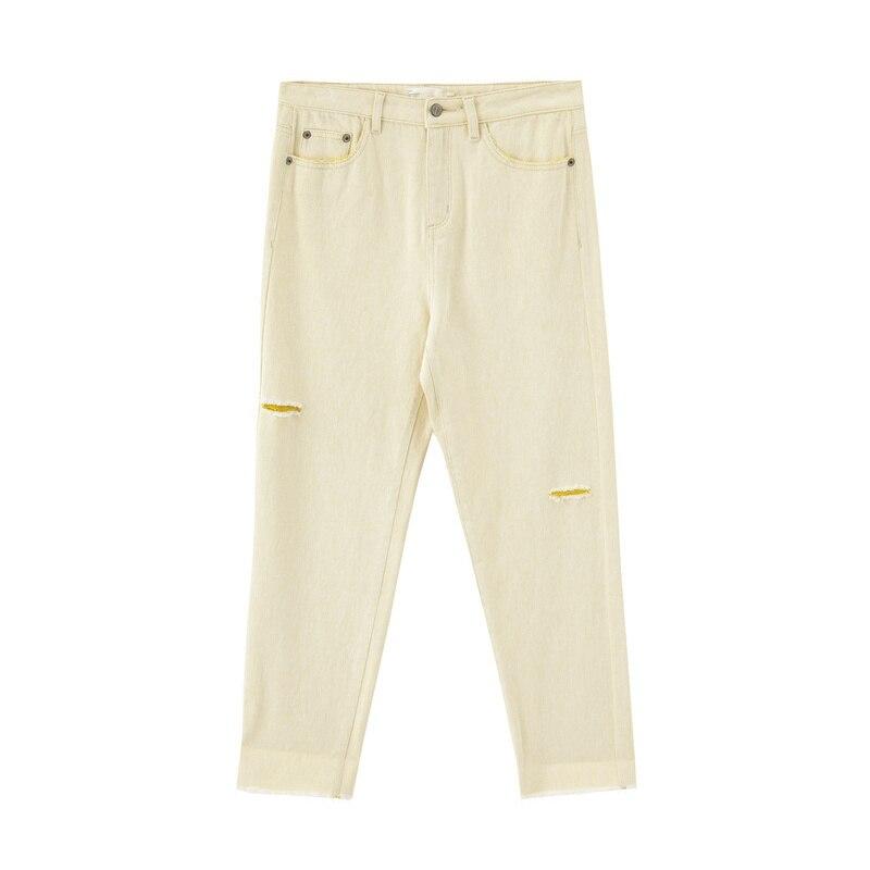 INMAN 2020 Spring New Arrival Literary Pure Cotton High Waist Broken Hole Trouser Women's pants