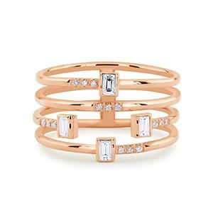 Επίχρυσο ή επάργυρο τετραπλό δαχτυλίδι – βέρα με ζιρκόν Δαχτυλίδια Κοσμήματα Αξεσουάρ MSOW