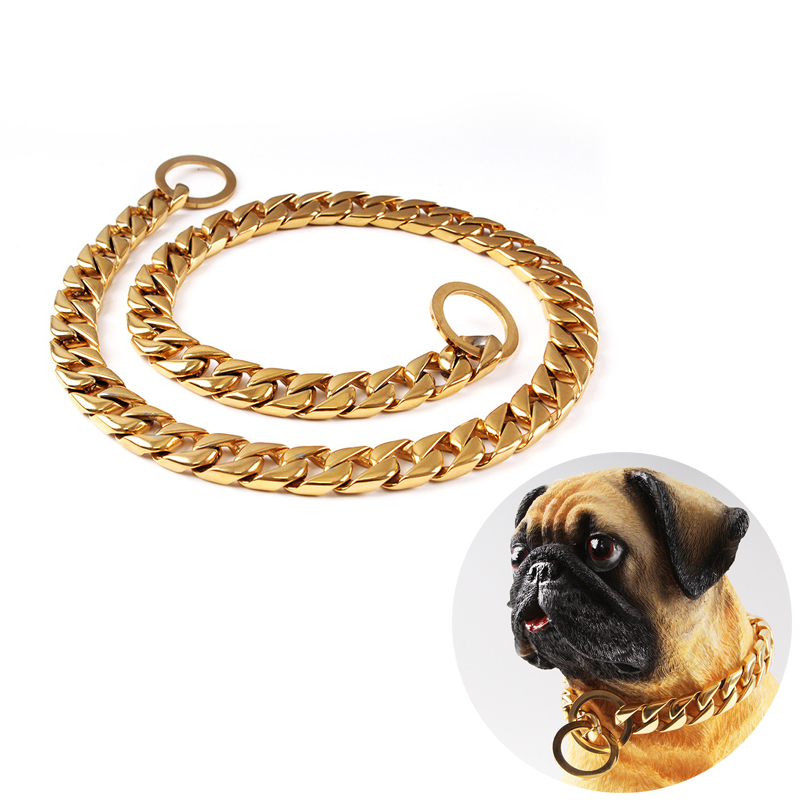 Pet Dog Choke Chain Gold Necklace Stainless Steel Strong Training Slip Collars For Big Dogs French Bulldog 15mm Wide 10A