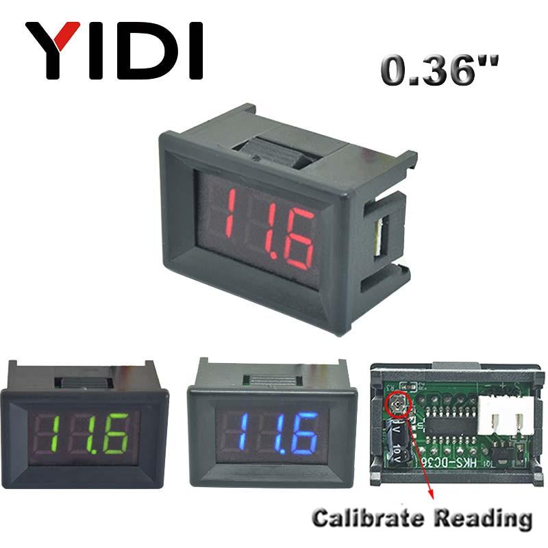 0.36'' DC 0-100V Mini LED Digital Voltmeter Red Green Blue LED Car Voltage Detector DC 2.3-30V Reading Calibrate Meter 2 3 Cable