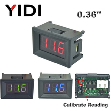 0.36'' DC 0-100V Mini LED Digital Voltmeter Red Green Blue LED Car Voltage Detector DC 2.3-30V Reading Calibrate Meter 2 3 Cable 3 digit blue led digital voltmeter meter module 3 3 17v
