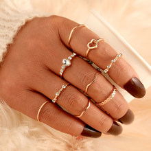 Ensemble de bagues géométriques ondulées EN 9 pour femmes, bijoux de fête à la mode