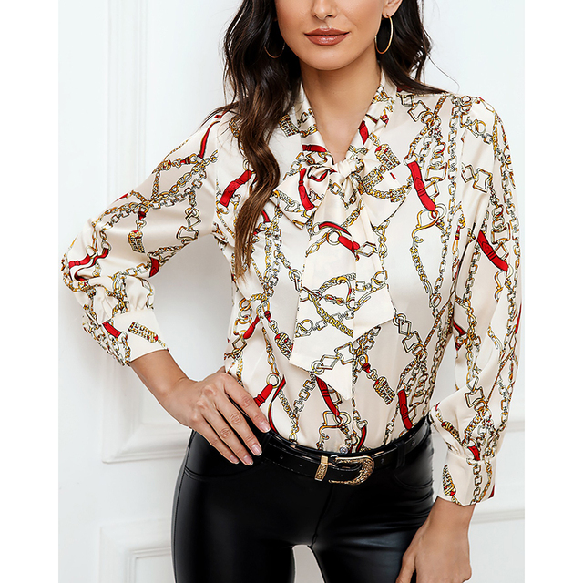 Blouse 2019 fashion new bow ladies office chiffon shirt casual chain print top 3