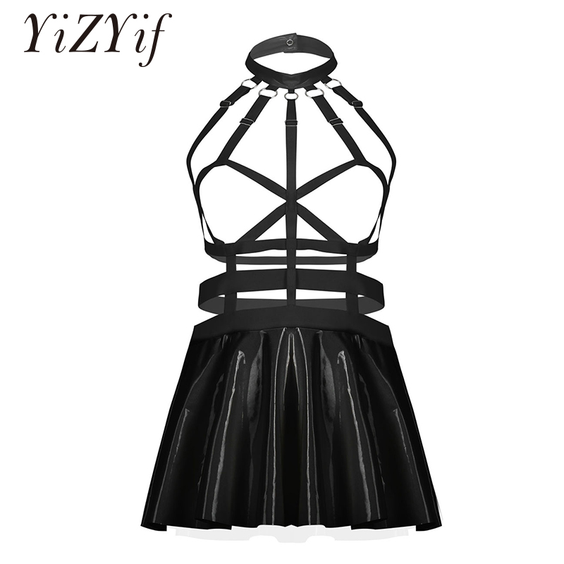 Women Punk Gothic Mini Flared Dress Sexy Patent Leather Erotic Dress Chest Harness Straps Caged Dresses Sexy Party Clubwear|Babydolls & Chemises|   - AliExpress