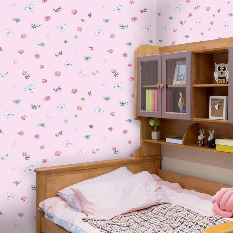 Sweet Pink Small Floral Wallpaper For Living Room Dining Room Kids Room Girl Bedroom Decorative PVC Self Adhesive Wallpapers