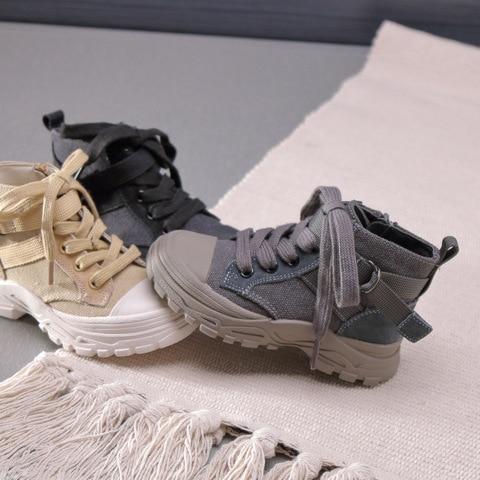 de marca tornozelo sapatos lona meninos botas pretas malha moda