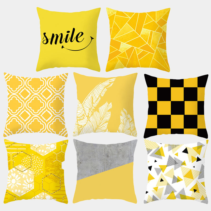 Yellow Geometric Cushion Cover Polyester Decorative Pillow Covers Pillowcase Modern Home Decoration 45*45cm 10042