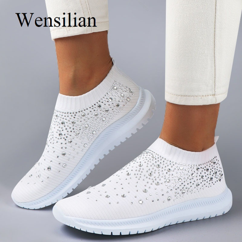 Bling Sneakers Women Knit White Vulcanized Shoes Tenis Feminino Slip On Loafer Female Flat Casual Shoes Crystal Ladies Sneakers