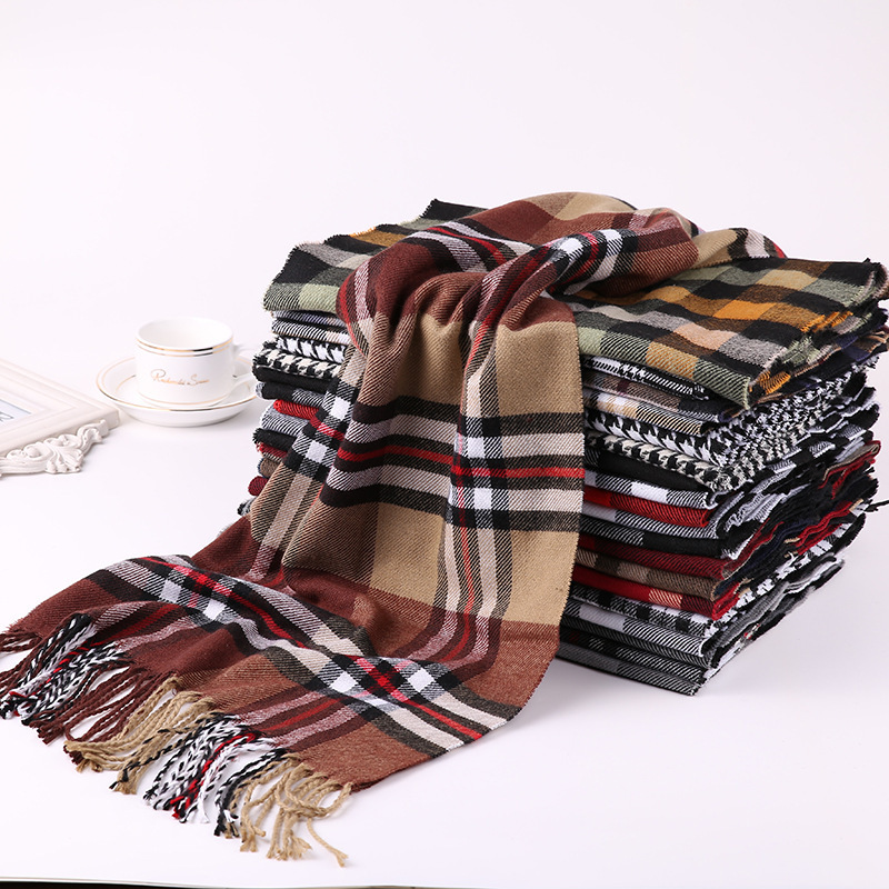 Plaid Scarf Shawls Tassel Cashmere Business Warm Winter Men's Man Women Luxury Brand title=