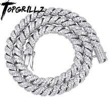 TOPGRILLZ Neue Ankunft 10mm Gold Silber Farbe Überzogene Iced Out Cubic Zirkon Kubanischen Links männer Halskette