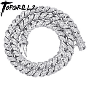 Image 1 - TOPGRILLZ  New Arrival 10mm Gold Silver Color Plated Iced Out Cubic Zircon Cuban Links Mens Necklace