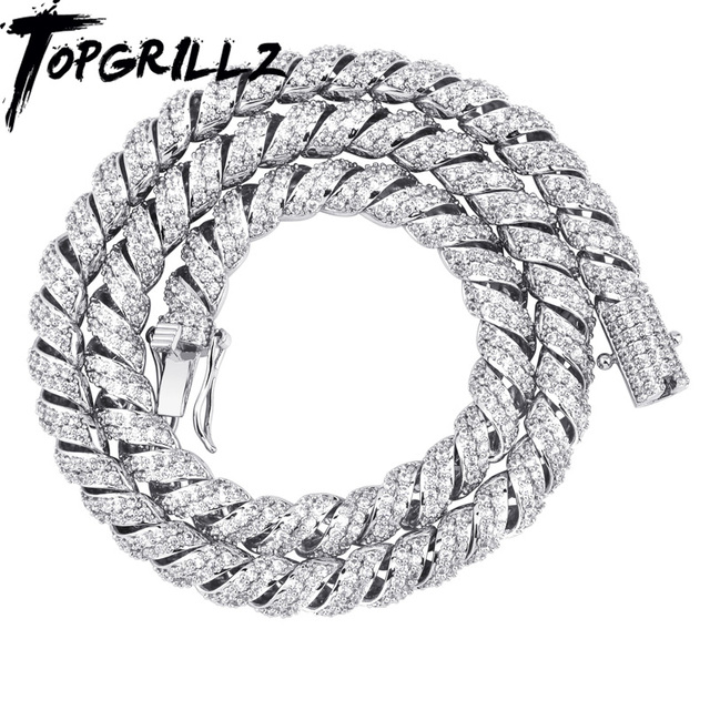 TOPGRILLZ  New Arrival 10mm Gold Silver Color Plated Iced Out Cubic Zircon Cuban Links Mens Necklace
