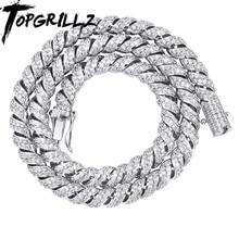 TOPGRILLZ collar con eslabones cubanos para hombre, Gargantilla, 10mm, Color dorado y plateado, Circonia cúbica Iced Out