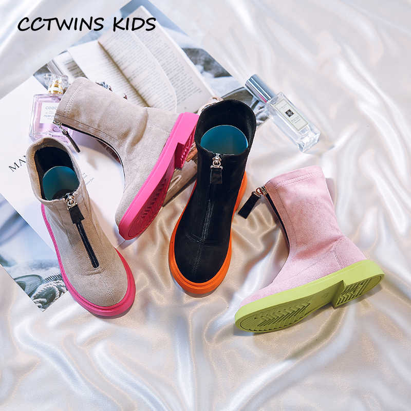 Kids Boot Shoes New 2019 Kids Fashion Black Boots Baby Girls Autumn Pink Zip Brand Ankle Boots Children Soft Casual Dress Shoes
