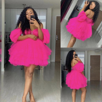 Fuchsia Off Shoulder Mini Prom Gown Custom Short Party Dresses Robe De Soiree Puffy Tulle Above Length abiye vestido de festa