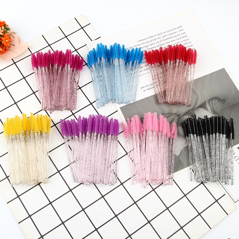 Hot 50Pcs Eyelashes Extension Disposable makeup Eyebrow brush Mascara Wand Applicator Eye Lashes Cosmetic Brush Set makeup tool