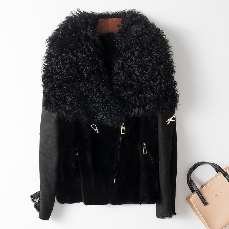 Winter Natural Real Fur Coat Female Streetwear Mink Fur Sheep Shearling Jacket Women Clothes 2020 Korean Double Faced Tops 9636