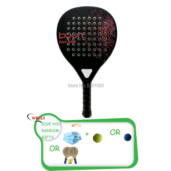 Beach Tennis Paddle Carbon Fiber Glass Fiber Beach Tennis Raquete,Carbon Fiber Grit Face with EVA Memory Foam Core Beach game image