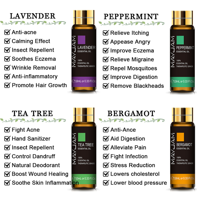 10ML Lavender Eucalyptus Pure Essential Oils Diffuser Rose Lemon Jasmine Vanilla Mint Sandalwood Bergamot Tea Tree Aroma Oil 4