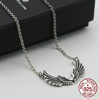 100% S925 sterling silver necklace personality fashion classic punk jewelry angel wings shape to send gifts for lovers 2018 hot