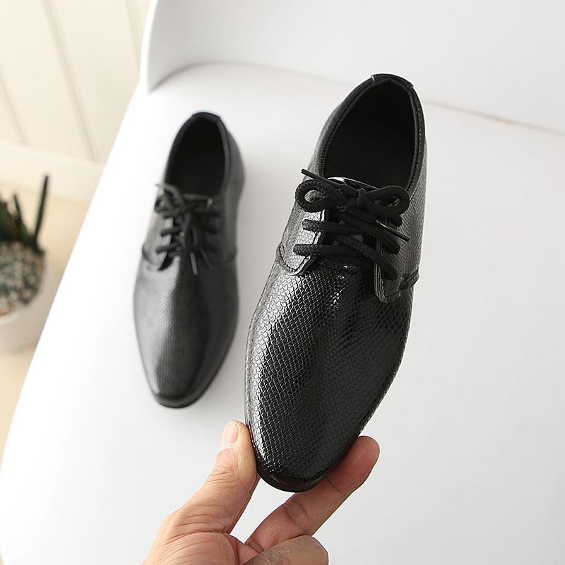 Ahannie Boys Leather School Uniform Oxford Shoe,Kids Black Derbys Formal Wedding Dress Shoes