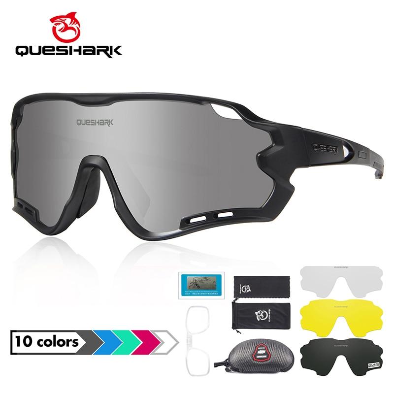 Queshark HD polarisées protection UV Cyclisme Lunettes De Vélo Lunettes De Route MTB 4