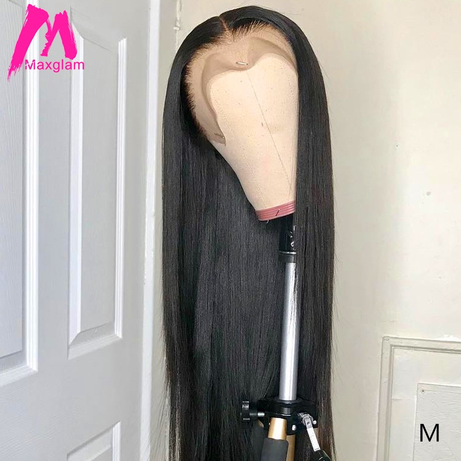 Lace Front Human Hair Wigs For Black Women Brazilian Afro Natural Straight Remy Short Lace Frontal Wig Pre Plucked 30 Inch Long