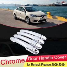Para Renault Fluence 2009 ~ 2019 Luxuriou Chrome Door Handle Tampa Catch Trim Conjunto Tampa Do Carro Styling Acessórios 2010 2011 2012 2013
