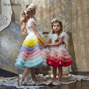 Nowe kwiatowe sukienki dla dziewczynek suknie balowe bufiasta spódnica dziewczyny księżniczka eleganckie suknie na urodziny suknie na konkurs piękności tanie i dobre opinie SexeMara Tea-długość Suknia balowa O-neck Krótki Organza Pióra mall20070601 Flower girl dresses REGULAR