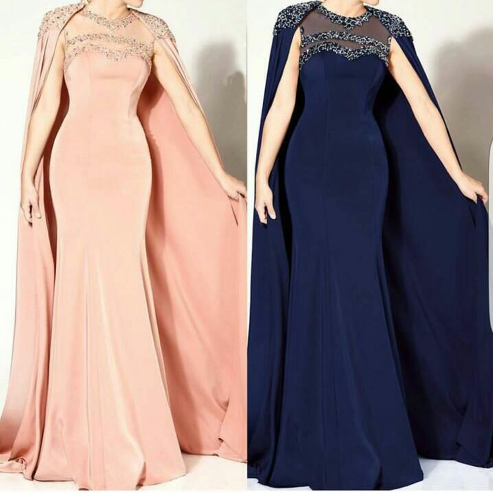 Mariage Vintage O Neck Beaded Sleeveless Mermaid Design Evening With Cape Mother Of The Bride Dresses
