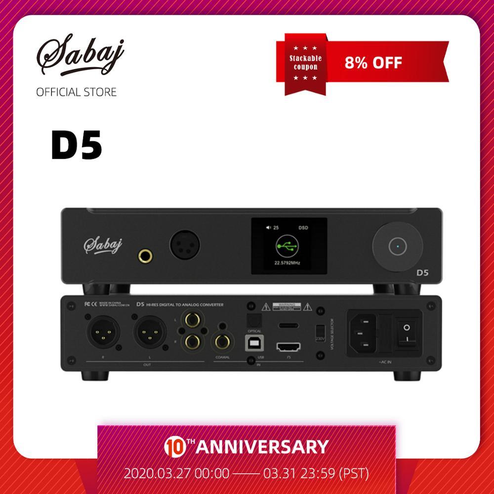 Sabaj D5 Hi-Res Balance Amp ESS9038PRO ES9311 32bit/768kHz DSD512 Preamplifier Remote Control USB Optical Coaxial I2S Input