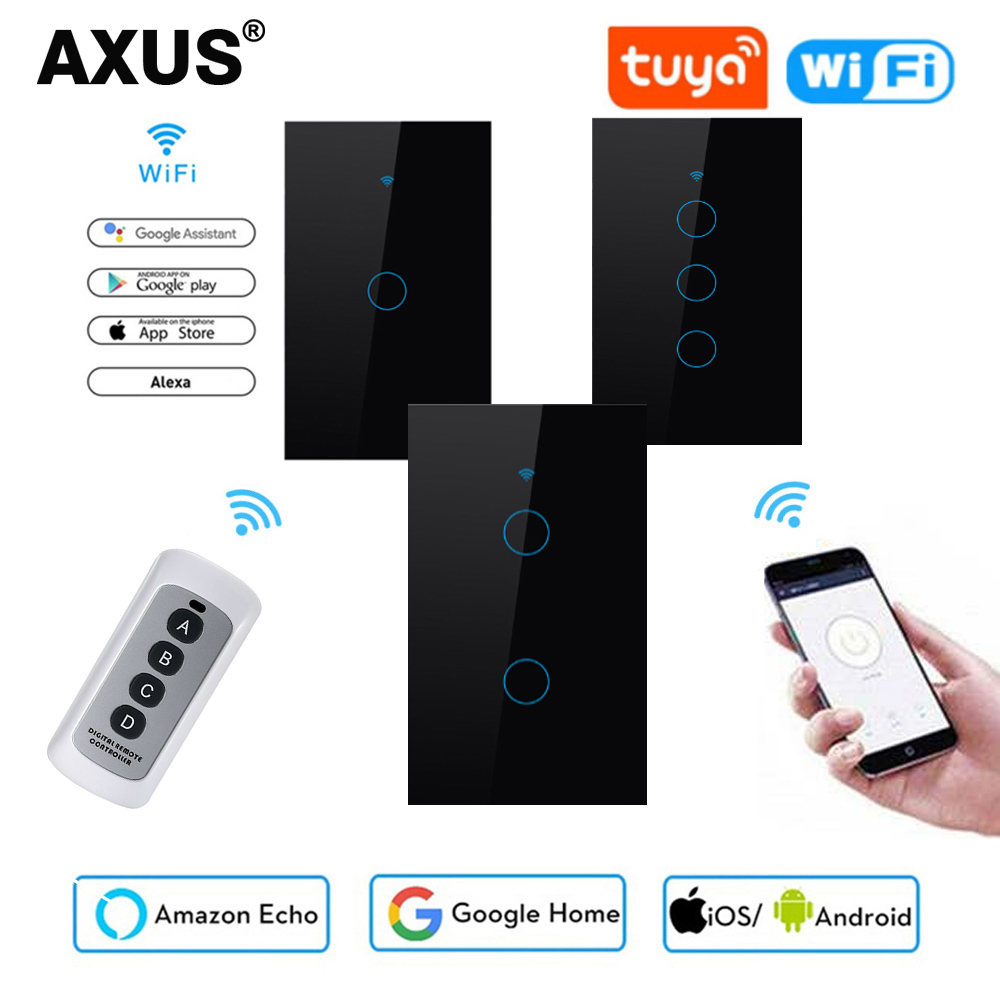 AXUS Tuya Smart Life 1 Gang 1 Way US Standard WiFi Wall Light Touch Switch for Google Home  Alexa Voice Control No Need Neutral