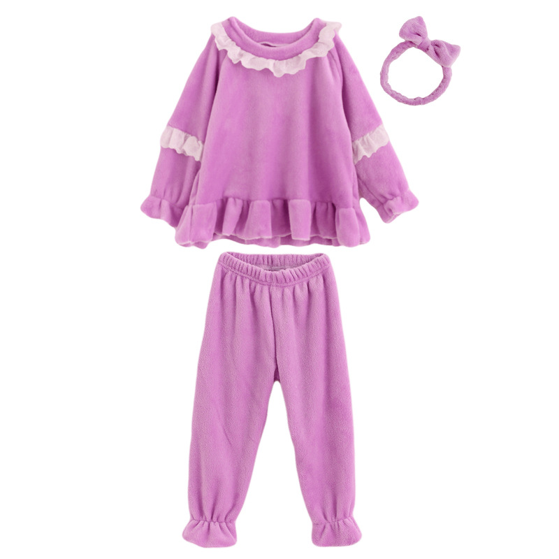 Girls 2018 Autumn And Winter Coral Velvet Tracksuit Baby Flannel Long Sleeve Princess Pajamas CHILDREN'S Suit