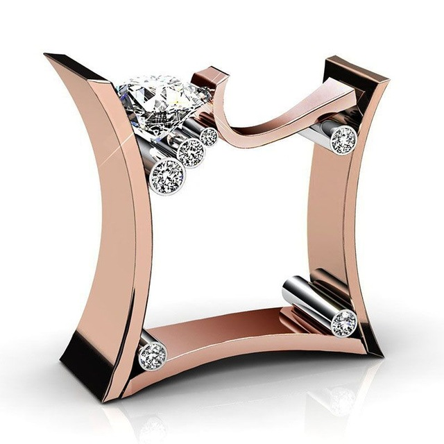 Punk Square Female Men s Zircon Stone Ring Crystal Rose gold Silver Ring Jewelry Promise Wedding