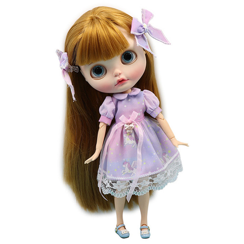 Blyth Doll Clothes Dream Princess Purple Lace Dress With Bow Headwear 1/6 Doll Normal Joint Azone Licca Icy Dolls Accessories