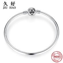 Hot 925 Sterling Silver Charm cuore zircone braccialetto di Perline fai da te per i monili di modo delle donne accessori moda 2018