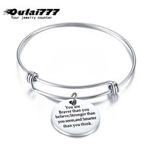 stainless steel adjustable custom women bracelet circle ccessories personalized friendship bracelet silver luxury braslet letter(China)