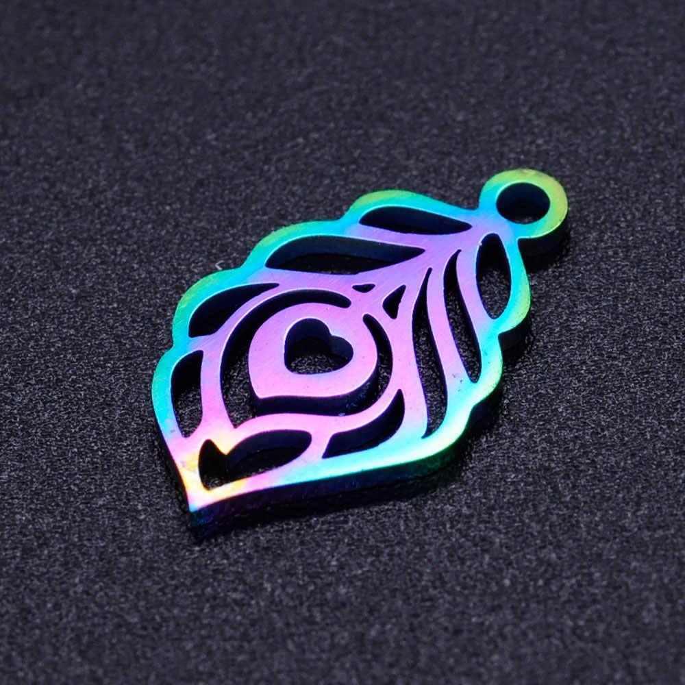 5 pz/lotto 100% In Acciaio Inox Arcobaleno Colore di Alta Polacco Della Piuma Del Pavone Pendenti e Ciondoli per Monili Che Fanno Accessori FAI DA TE 18*10.5mm