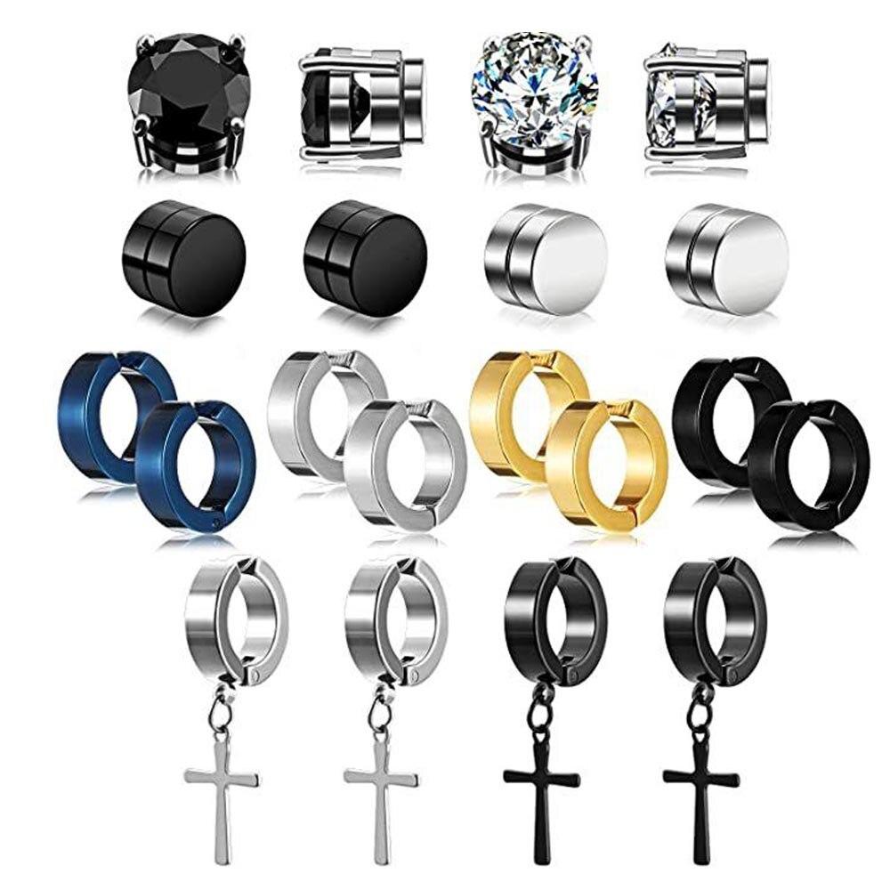 2 шт. панковский сильный магнит магнитный Набор шпилек для ушей не пирсинг серьги поддельные крест, высокое качество, прекрасный подарок для...