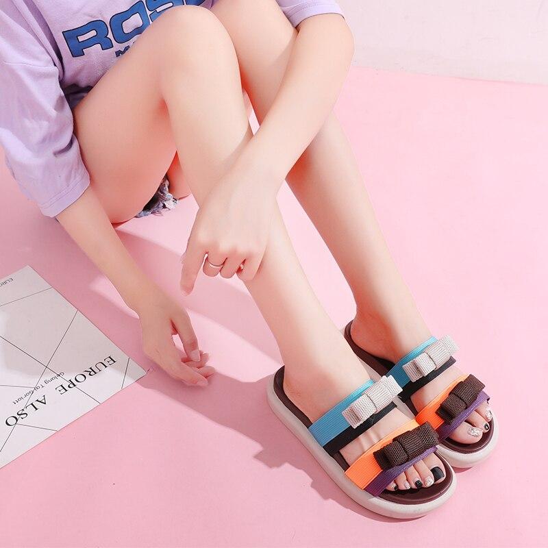 Модные летние шлепанцы с бантом-бабочкой; Женская обувь на плоской подошве; Разноцветные пляжные шлепанцы; Шлепанцы; Женская обувь на платф...